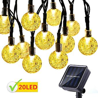 20 Led Crystal Shaped Ball Lights With Solar Panel  Solar Powered For Garden Christmas Decoration Home Yard Party