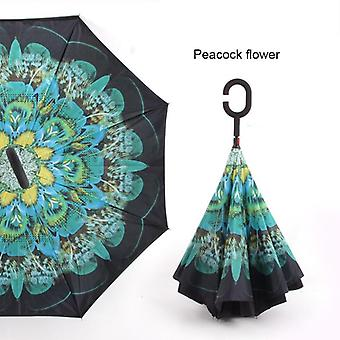 C Handle Windproof Reverse Folding Umbrella Sun Rain Car Inverted Double Layer Anti Uv Self Stand