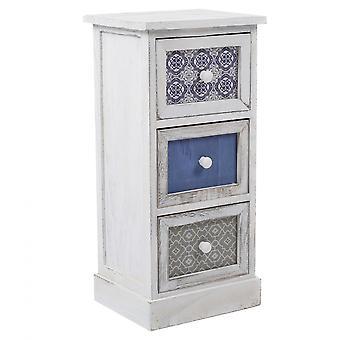 Rebecca Furniture Comodino Chest 3 White Drawers Wood Retro 62x29x25