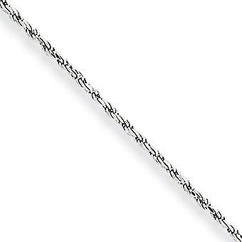 10 k oro bianco tinta aragosta artiglio chiusura 1,2 mm Sparkle-Cut Rope catena cavigliera - 9 pollici - Lobster Claw