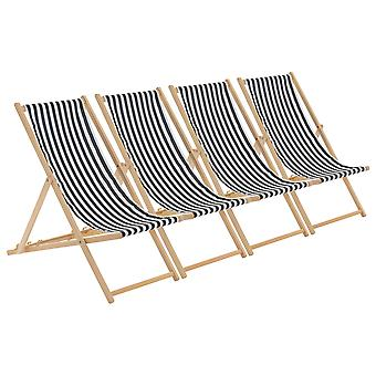 Traditional Adjustable Garden / Beach-style Deck Chair - Black / White Stripe - Pack of 4