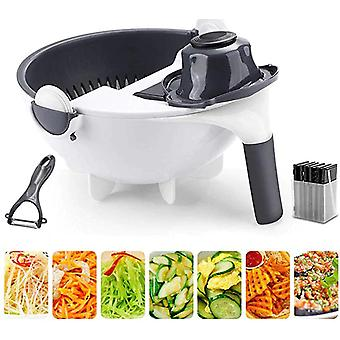 Magic Multifunctional Rotate Vegetable Cutter With Drain Basket