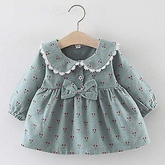 Nyfødte Baby Girls Winter Dress Christmas Floral Cherry Dot Bomuld Bow Dress Set Outfits
