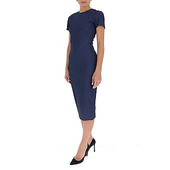 Victoria Beckham 1320wdr001759a Women's Blue Cotton Dress