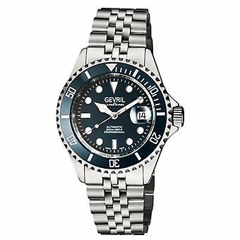 Gevril Mens 4853B Wall Street ETA 2824 Swiss Automatic Blue Ceramic Bezel Watch