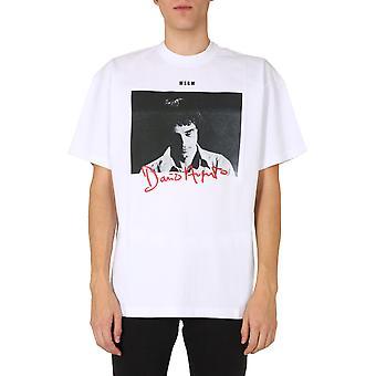 Msgm 2940mm21520759801 Mænd's White Cotton T-shirt