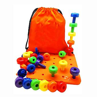30pcs Peg Board Set- Montessori Thérapie Fine Motor Toy For Toddlers Pegboard