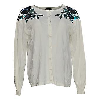 Bob Mackie Women's Sequin Floral Applique Cardigan Sweater White A347434
