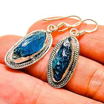 """Blue Fluorite Earrings 1 1/2"""" (925 Sterling Silver)  - Handmade Boho Vintage Jewelry EARR407544"""