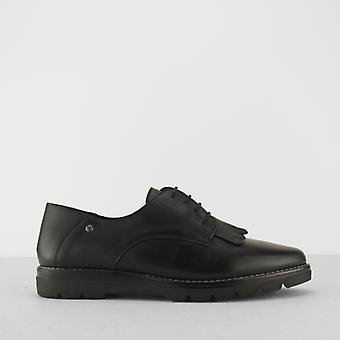 Pikolinos Riga naiset nahka Flats pitsi ylös kengät musta