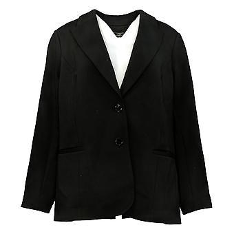 DG2 door Diane Gilman Women's Suit Jacket/Blazer Black Polyester 689-318