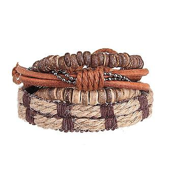 4pcs Men Retro Stretch Cowhide Bracelet Row Set Woven Wristband Fashion Jewelry