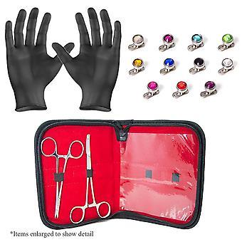 Dermal body piercing kit - 2 forceps w/11 dermal gem tops and bottoms + gloves bj25964