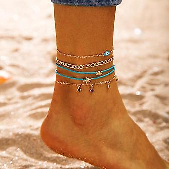 Gold Color Bohemia Anklets Set Imitation Pearl Shell Star Beads, Trendy Ankle