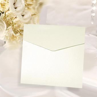 10 Convites de Bolso da Praça Pearlised Branco Gelado