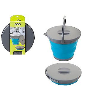 Summit Pop! Collapsible 5 Litre Bucket With Lid 5L Folding Bin Camping Caravans - Blue / Grey