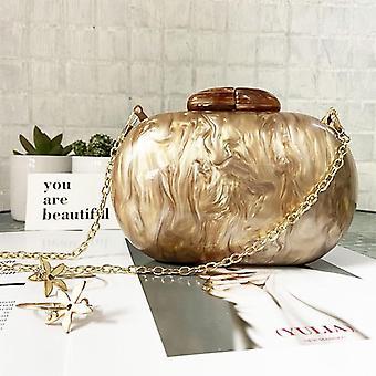 Ellipse Acrylic Bags Cute Clutches Coffee Handbag / Evening Clutch Bag