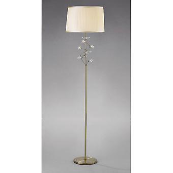 Wilgenvloerlamp met cream shade 1 bol antieke messing / kristal