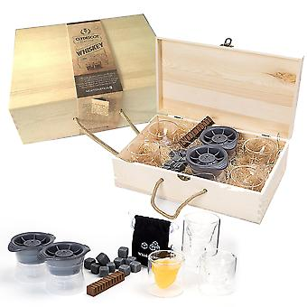 Clydescot Glasgow - 21pcs Whiskey Gift Set - 12 Reusable Ice Cubes Granite Cooling Stones Cool Drinks Without Watering It Down + 4 Skull Glass Whiskey
