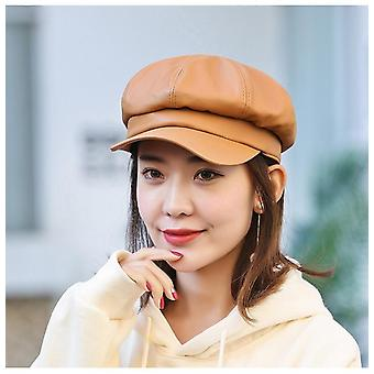 Fashion Solid Color Octagonal Leather Artist Painter Newsboy Caps