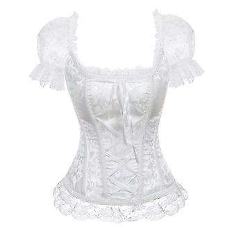الأزهار Overbust Corset Vest Bustier Tops Sleeves Lace Brocade Shoulder Strap