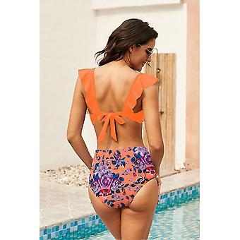 Ruffle Bikini Top, Printed High Waist Panty Swimsuit
