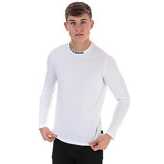 Men's Armani Neck Logo Long Sleeve T-Shirt in White