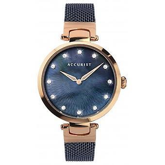 Accurist 8305 Současné růžové zlato & modré dámské hodinky