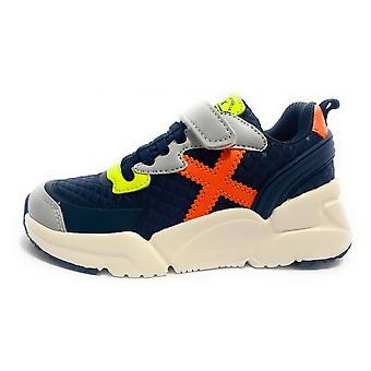 Shoes Baby Munich Sneaker Mini Track Grey Faux Leather/ Blue Fabric/ Yellow/ Orange Z21mu11