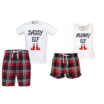Daddy Elf Mummy Elf Tartan Jul Kort Pyjamas Par Set