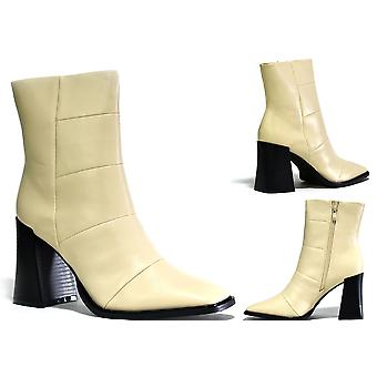Square Toe Block Heel Nude Shoe