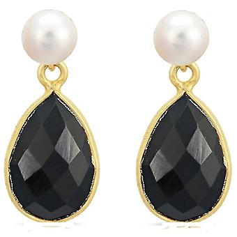 Pearls of the Orient Clara Freshwater Pearl Spinel Drop Earrings - Black