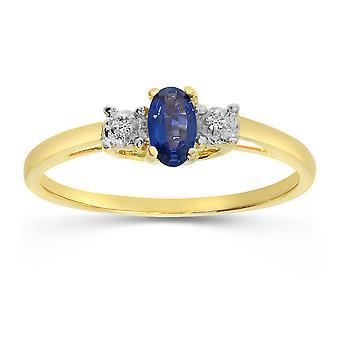 LXR 10k or jaune saphir ovale et diamant bague 0.25 ct