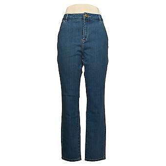LOGO by Lori Goldstein Women's Jeans Ankle Embroidered Pocket Blue A343691
