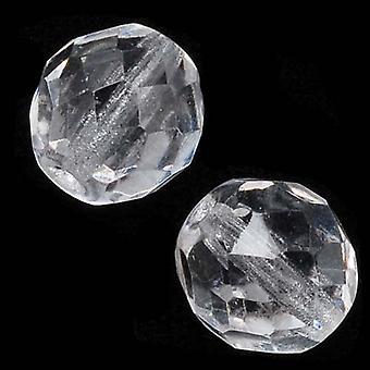 """חרוזי זכוכית צ'כית מלוטשת 10 מ""""מ גביש עגול (12)"""