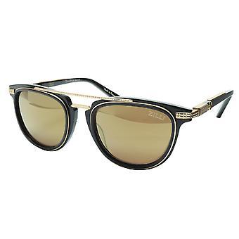 ZILLI Solglasögon Titanacetat Svart Matt Guld Polariserad Frankrike ZI 65019 C05