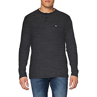 Tommy Jeans Tjm Longsleeve Texture Tee Shirt, Black, M Man