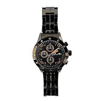 Oskar Emil Kansas Black/Orange - Men's wristwatch, black stainless steel strap
