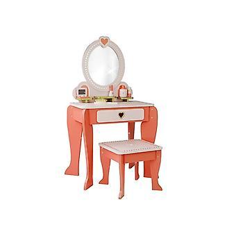 Espejo de corazones rosas de tocador de madera