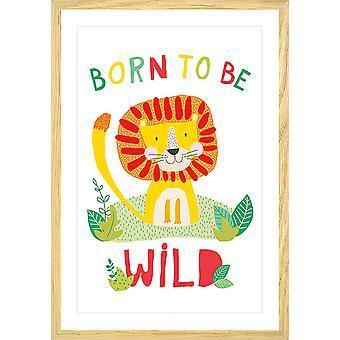 De leeuwaffiche van het kind geboren om wild te zijn
