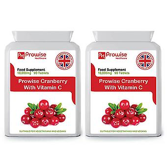 Pack of 2 - Cranberry With Vitamin C Cranberry Double Strength 10,000mg 90 Tablets Suitable for Vegetarians & Vegans by Prowise