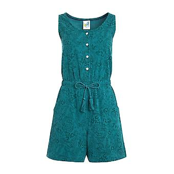 Gracie Printed Cheesecloth Playsuit Deep Teal