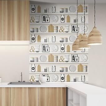 Realistic Shelve and Decoration Wallpaper