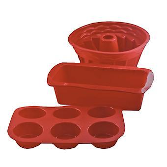 Set van 3 siliconen gebak mallen