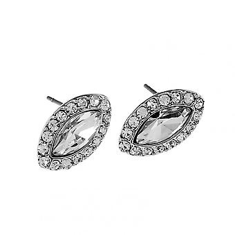 Marquise Rhinestone Crystal With Silver Plated Zinc Alloy Halo Studs Earrings