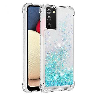 Case For Samsung Galaxy A02s Bumper Cover Sparkly Glitter Bling Flowing Liquid - Light Blue