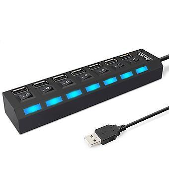 USB HUB USB 3.0 HUB 7-porte Multi USB Splitter 3 Hab med strømforsyning til pc Bærbar USB-HUB 2.0
