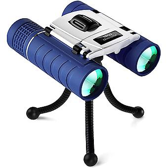 High Power 10x22 Binoculars for 3-12 Year Old Kids Compact Folding Shock-Proof High-Resolution Binoculars for Bird Watching Traveling for Boys Girls,(Blue)
