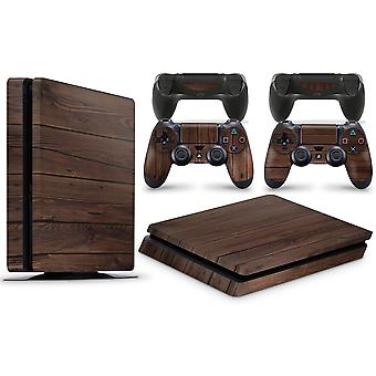 GNG PS4 SLIM Console WOOD Skin Mahogany Decal Vinal Sticker + 2 Controller Skins Set