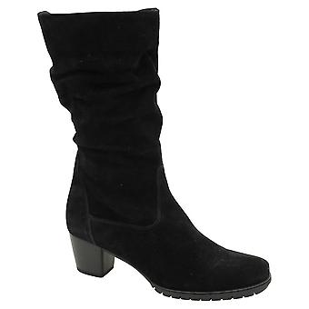 Gabor Black Soft Nubuck Calf Length Low Heel Boot With Ruched Design